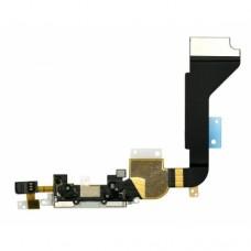Нижний шлейф с белым разъемом зарядки, микрофон для iPhone 4