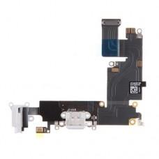 Нижний шлейф с белым разъемом для зарядки и микрофоном для iPhone 6 Plus (6+)